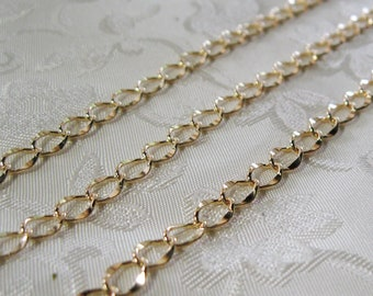 Soldered Light Gold Plated Oval Hammered Curb Chain 5mm x 6mm 358 NEW