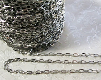 Antique Silver Plated Flat Link Cross Cable Link Chain 5mm x 7mm 376