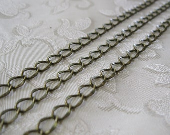 Soldered Antique Bronze Plated Oval Hammered Curb Chain 5mm x 6mm 358 NEW