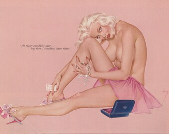 33#  Rare Early 60's Vintage Vargas Pin Up Girl Playboy Picture Pretty In Pink