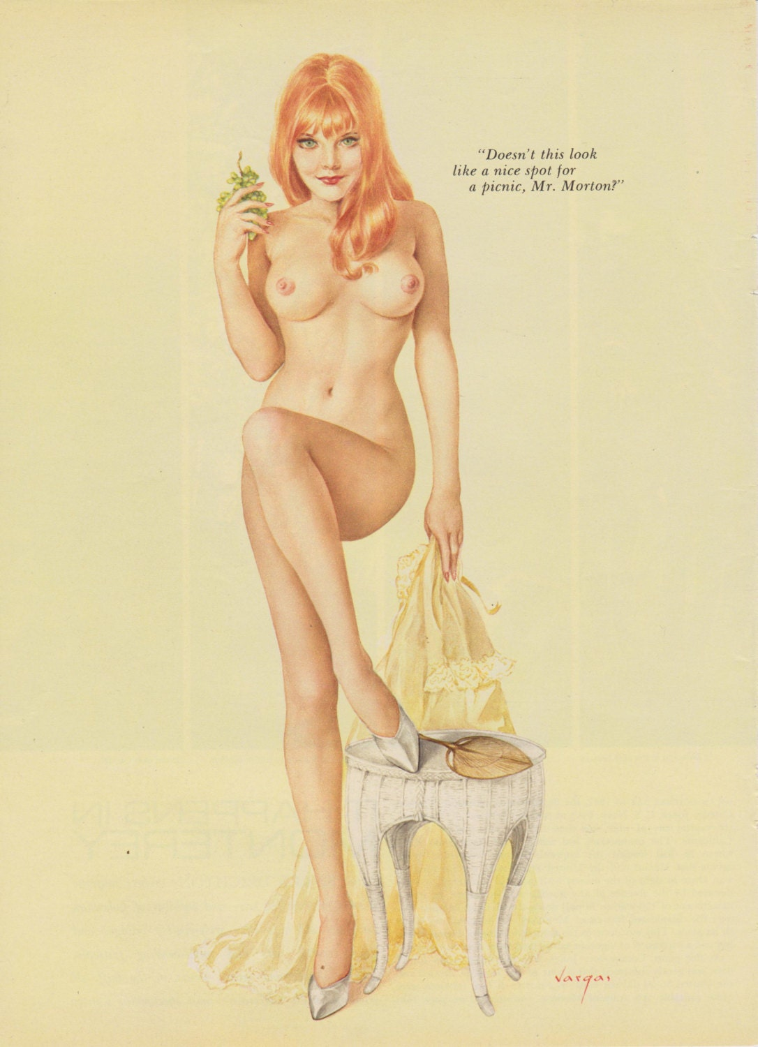 7 Vintage Vargas Nude Pin Up Girl Playboy Picture July -4412