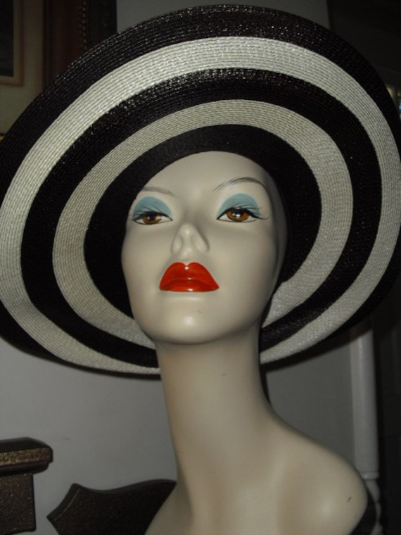 RARE  Elsa Schiaparelli  Straw Hat 2 Tone Brown an