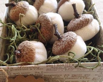 Handmade velvet acorns with real caps/ white/ Free US Shipping