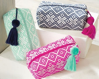 Monogrammed Woven Make Up Bag