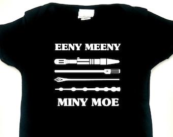 Eeny, Meeny...Sonic Screwdriver, Light Saber, Gandalf Staff, Elder Wand Infant Bodysuit or Toddler T-shirt - Choose size and color