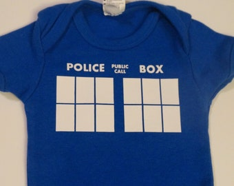 Dr. Who TARDIS Police Box Public Call Infant Bodysuit or Toddler T-shirt
