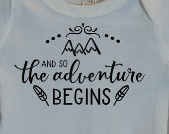 And so the ADVENTURE BEGINS Mountain Infant Bodysuit or Toddler T-shirt - Choose size and color