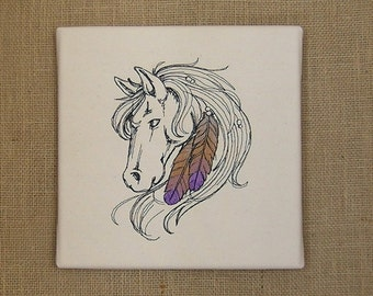 Horse, Horse With Feathers,  Canvas Art, Equestrian Art, Embroidered Horse, Horse Lover, Equestrian, Horse Embroidery