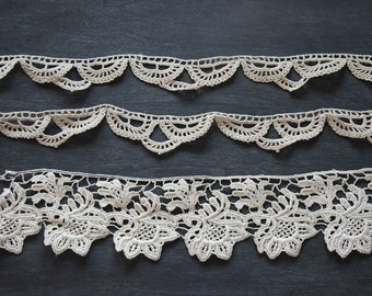 Vintage Lace, Crochet Lace, Vintage Crocheted Lace, Lace Trim, Vintage Textiles, Sewing Supplies, Crocheted Lace Border, Antique Lace Trim