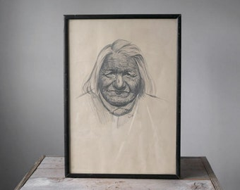 Vintage Native American Portrait, Original Drawing, Portrait , Home Decor, Wall Hanging, Home and Living