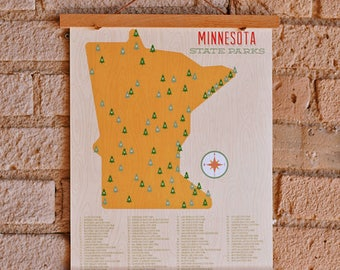 Minnesota State Park Print, State Map Poster, Minnesota Digital Print, MN Art, MN state map print by Sweetpea and Co.