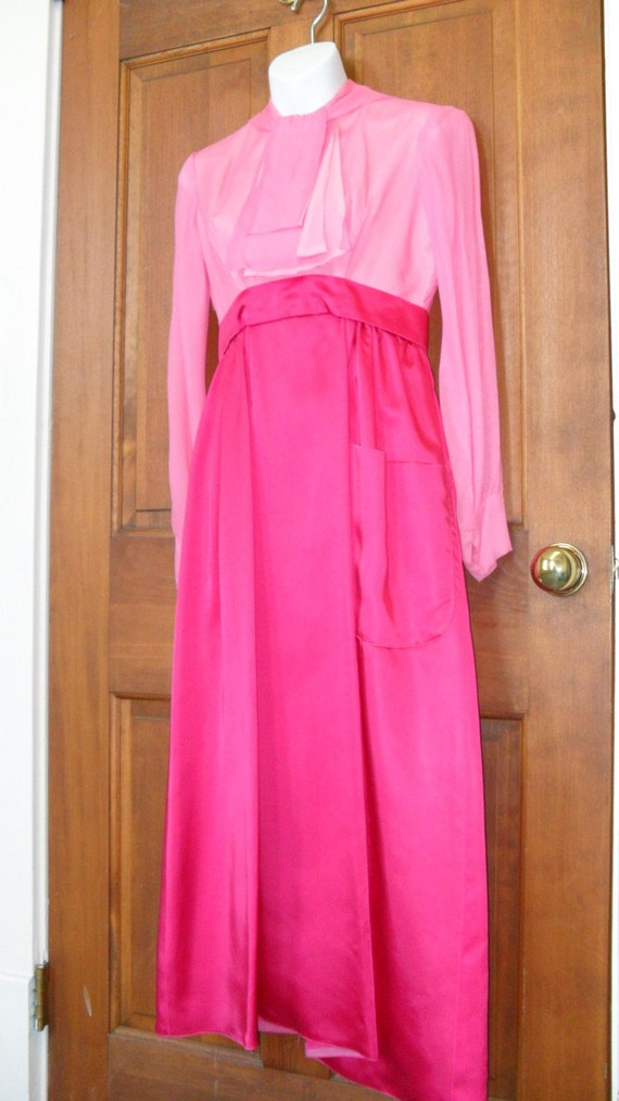 Vintage Handcrafted Classic Style Hot Pink Long Dr