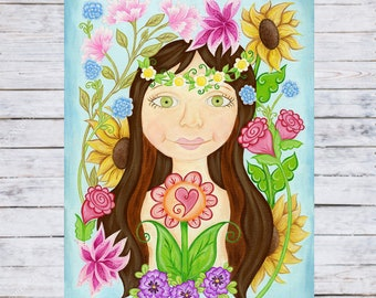 Girl With Flowers in Her Hair Print