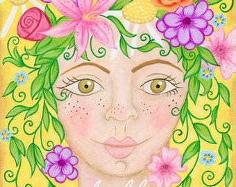 Hello Flower Head Girl Print