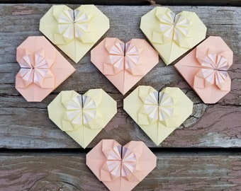 Origami Blossoming Hearts - Peaches and Cream