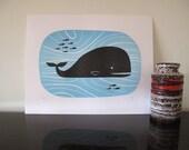 Modern Whale Letterpress Print