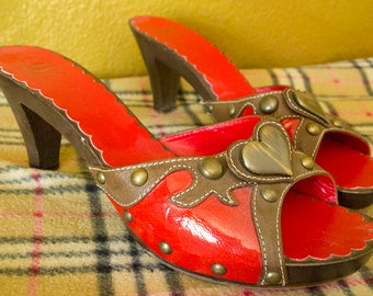 d2cfe23bc5 HEARTTHROB // Vintage 90s Moschino Heels Womens 9 39 Red Patent Leather  Fetish Low Heel Sandals Slides Cute Designer Cheap and Chic Shoes