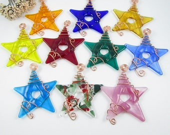 ten glass star ornaments handmade fused glass stars wrapped with copper wire glass star ornament suncatcher christmas star - Fused Glass Christmas Ornaments