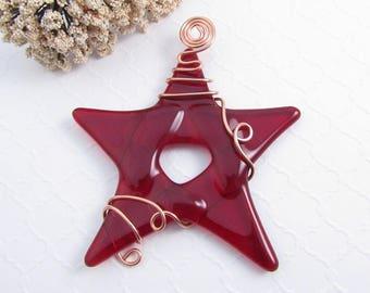red glass art ornament glass art gift fused glass star Christmas ornament fused glass ornament glass star lover gift Star