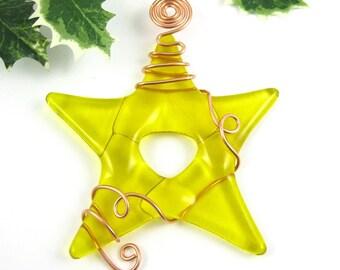 Christmas Ornament - Yellow Glass Star Ornament Suncatcher -  Yellow Fused Glass Star Ornament - Christmas Tree Star - Glass Star Suncather