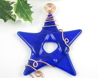Blue Glass Star Christmas Ornament -  Cobalt Blue Fused Glass - Handmade Glass Star Christmas Tree Ornament - Star Suncatcher