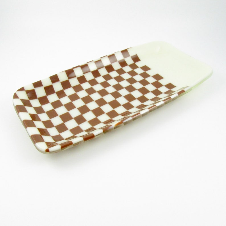 Brown and Cream Checkered Fused Glass Dish