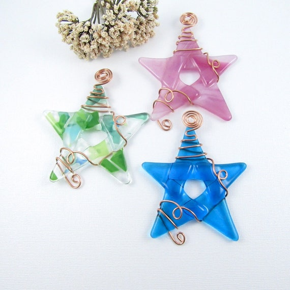 Glass Star Ornament Pick Your Own Colors Handmade Glass Star Ornaments Wrapped with Copper Wire 20 Fused Glass Star Suncatchers