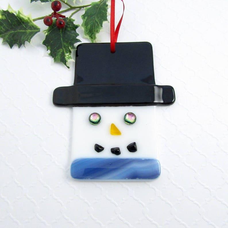 Snowman Christmas Ornament Fused Glass Snowman Ornament Snowman Head With A Blue Scarf Glass Christmas Ornament Fused Glass Snowman