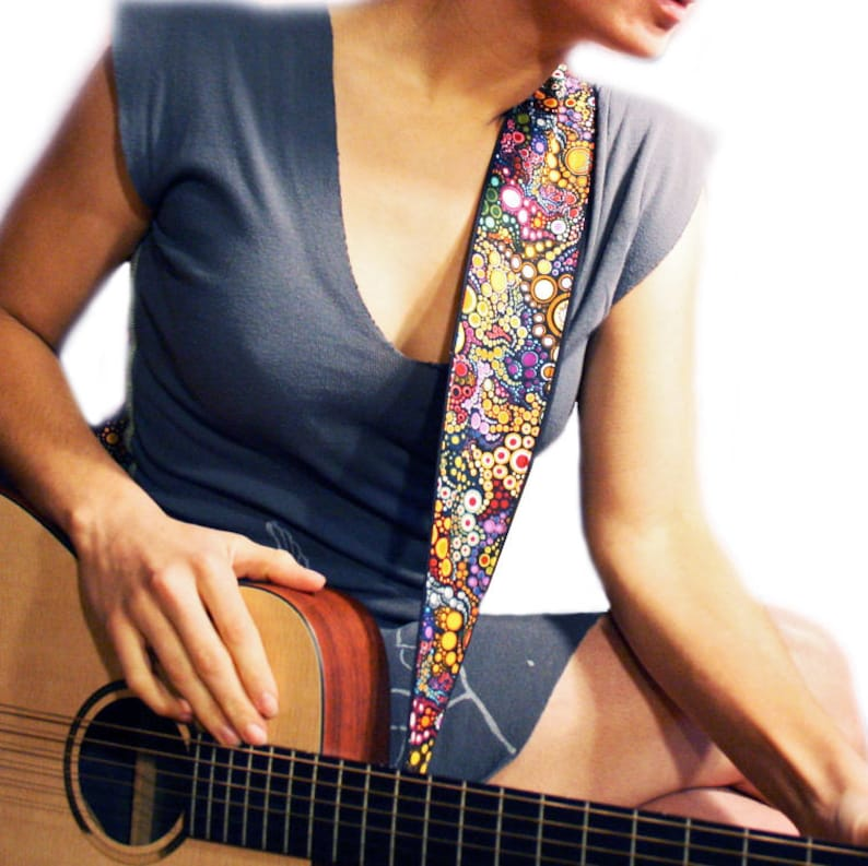 Guitar Strap Guitar Player Gift Galactic Design Vegan image 0
