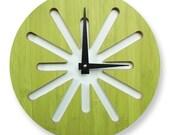 Green Splat Bamboo Wall Clock
