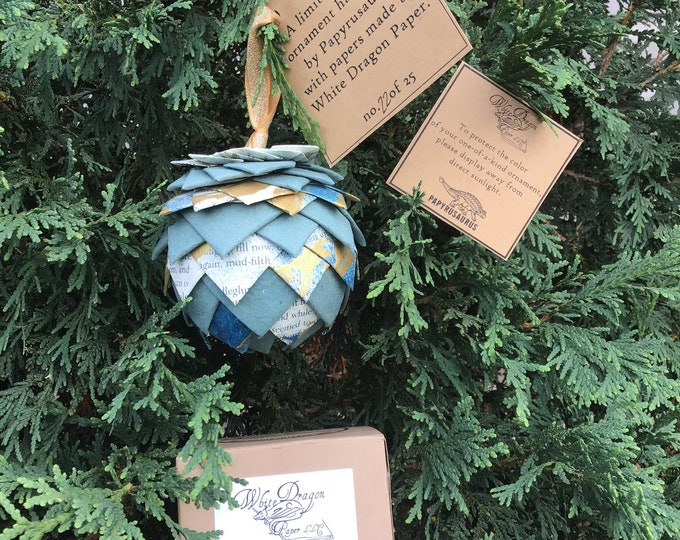 Featured listing image: Handmade paper ornaments, Papyrusaurus collaboration, tree ornaments, paper pine cone, pine cone ornaments, recycled paper ornament,