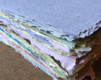 Handmade paper, recycled paper, letter size, handmade paper, recycled paper, eco friendly paper, american quarto, homemade paper, mixed