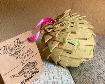 Yellow Christmas ornament, handmade paper ornament, pine cone ornament, paper pine cone, metallic paper, Christmas ornament, globe
