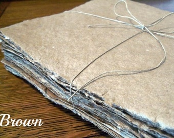 10 SMALL sheets of handmade paper, SMALL sizes, 2x3, 4x4, 4x5, 4x6, 5x7, 5x8, recycled paper, decorative paper, natural, homemade paper