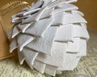 Classic white Christmas ornament, handmade paper ornament, pine cone ornament, paper pine cone, Christmas ornament, globe