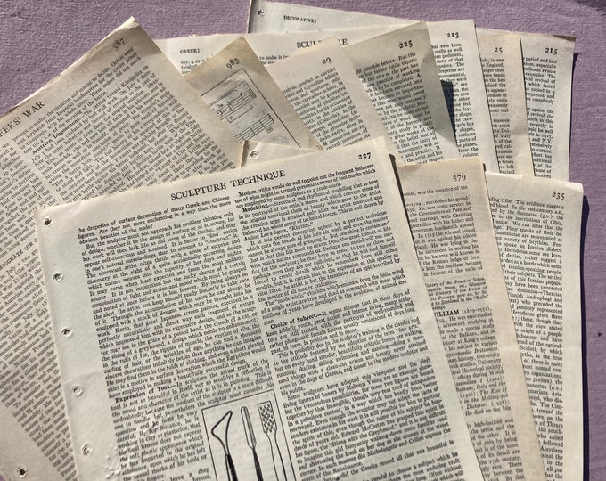 Featured listing image: Vintage encyclopedia page pack, mixed lot, ephemera pack, junk journal, collage, scrapbooking, mixed media supply