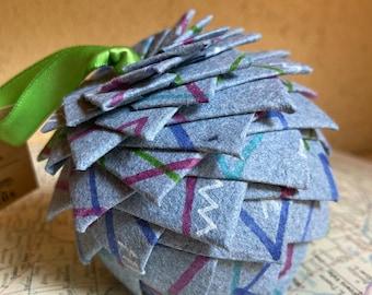 Blue denim Christmas ornament, handmade paper ornament, pine cone ornament, paper pine cone, denim paper, Christmas ornament, globe