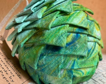 Marbled Christmas ornament, handmade paper ornament, pine cone ornament, paper pine cone, woodland ornament, Christmas ornament, globe