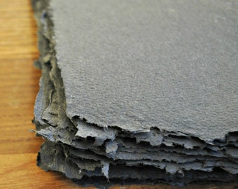 10 sheets dark grey handmade paper, recycled paper, eco friendly paper, handmade paper, homemade paper, scrapbooking paper, acid free,
