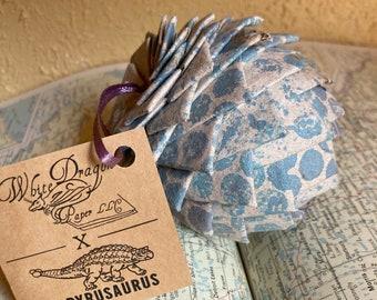 Blue Pine cone ornament, Number 18/40 Papyrusaurus ornament, winter decoration, ornament, pine cone, solstice ornament