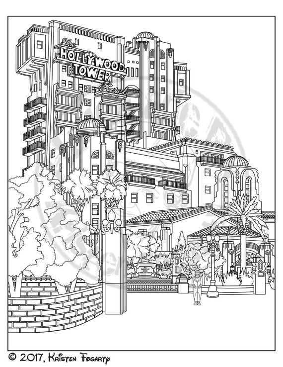 Disneyland Digitale Volwassen Kleurplaat Tower Of Terror 8 Etsy