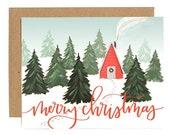 Christmas Cabin Illustrated Card - Boxed Set // 1canoe2