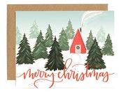 Christmas Cabin // Illustrated Card // 1canoe2