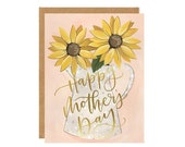 Mother's Day Sunflowers Illustrated Card // 1canoe2
