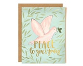 Peace to You and Yours Illustrated Card - Boxed Set of 8 // 1canoe2