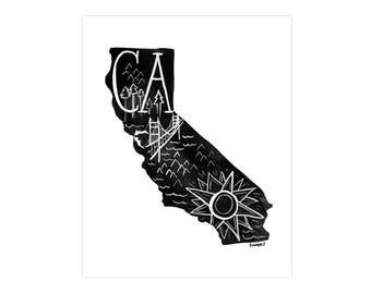 California State Print // 1canoe2 // Modern Art Print