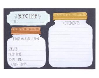 Mason Jar Recipe Cards - Set of 50 // 1canoe2 // Hand illustrated