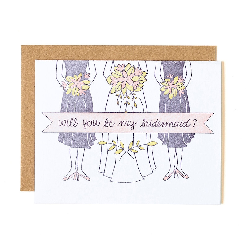 Will You Be My Bridesmaid Letterpress Card // 1canoe2 image 0