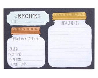 Mason Jar Recipe Cards - Set of 15 // 1canoe2 // Hand illustrated