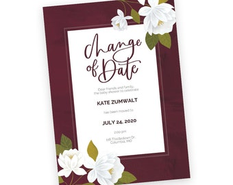 Customizable Maroon Raleigh Floral Change of Date Postcards